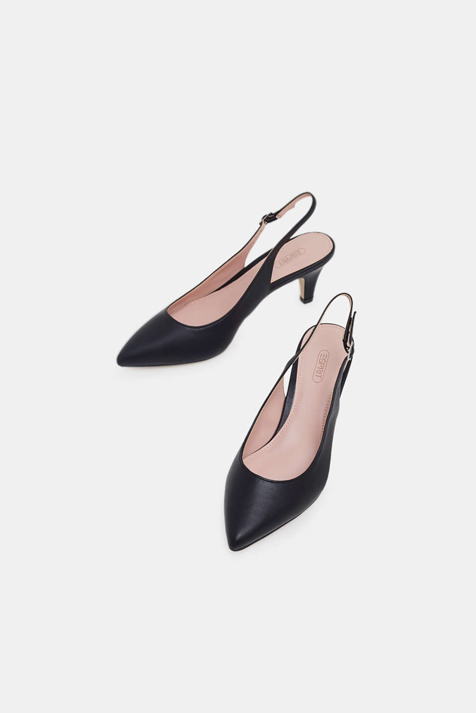Slingback court shoes in faux leather, BLACK, detail image number 5
