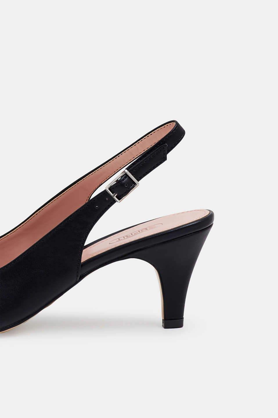 Slingback court shoes in faux leather, BLACK, detail image number 4