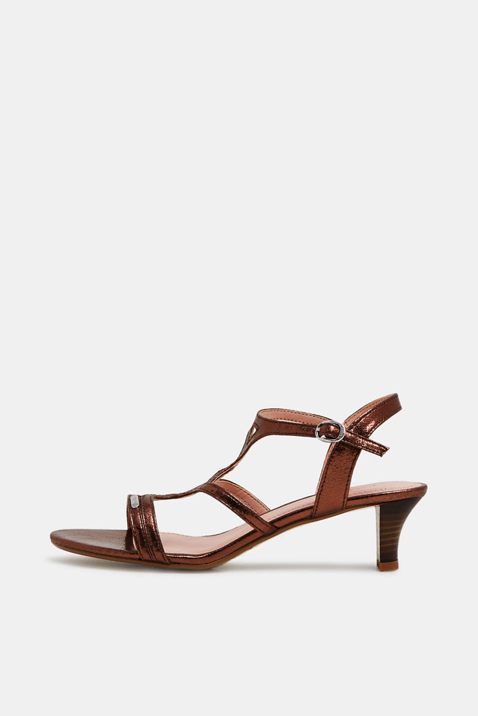 Esprit - Metallic sandals in crumpled faux leather