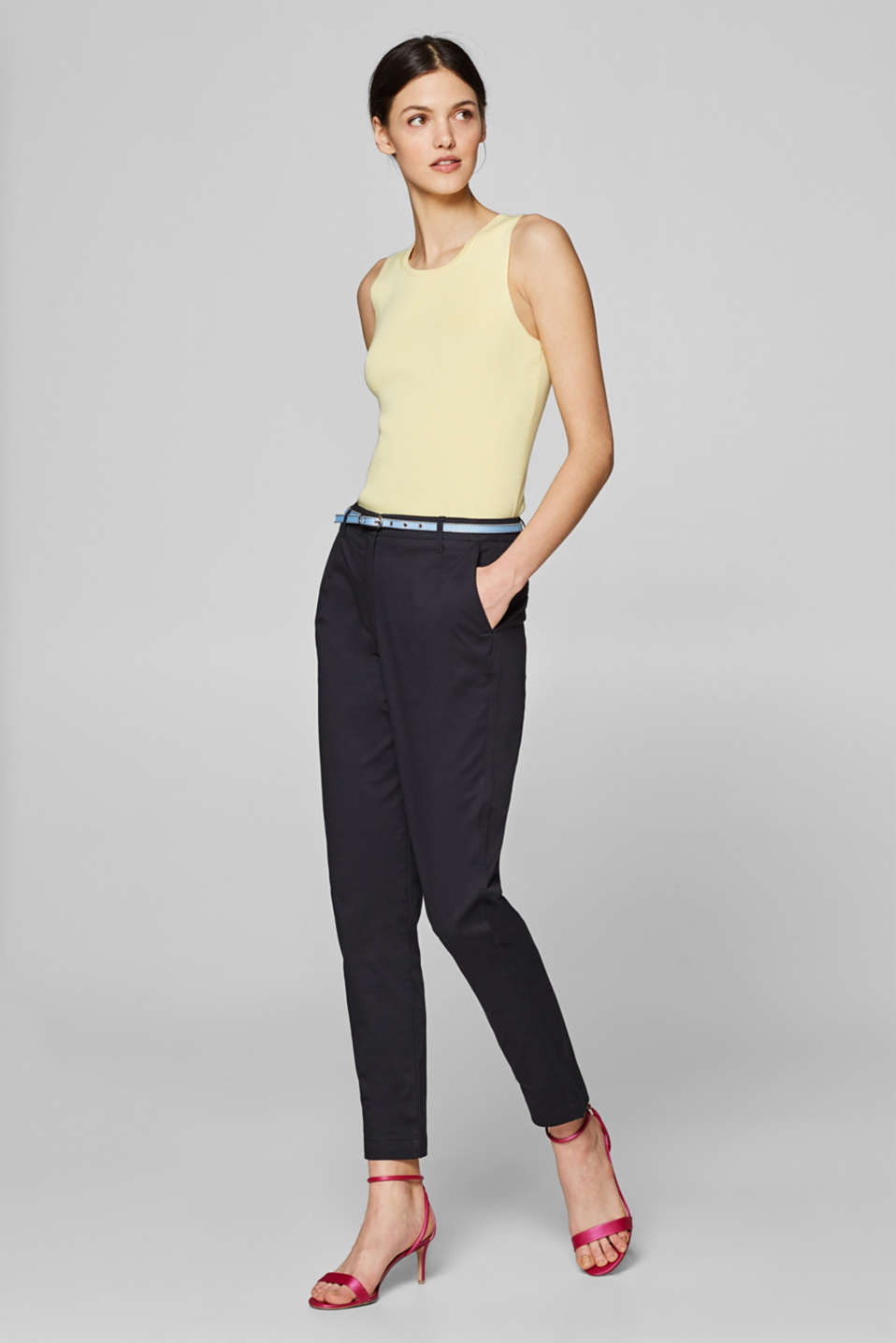 Esprit - BUSINESS CHINOS with a textile belt