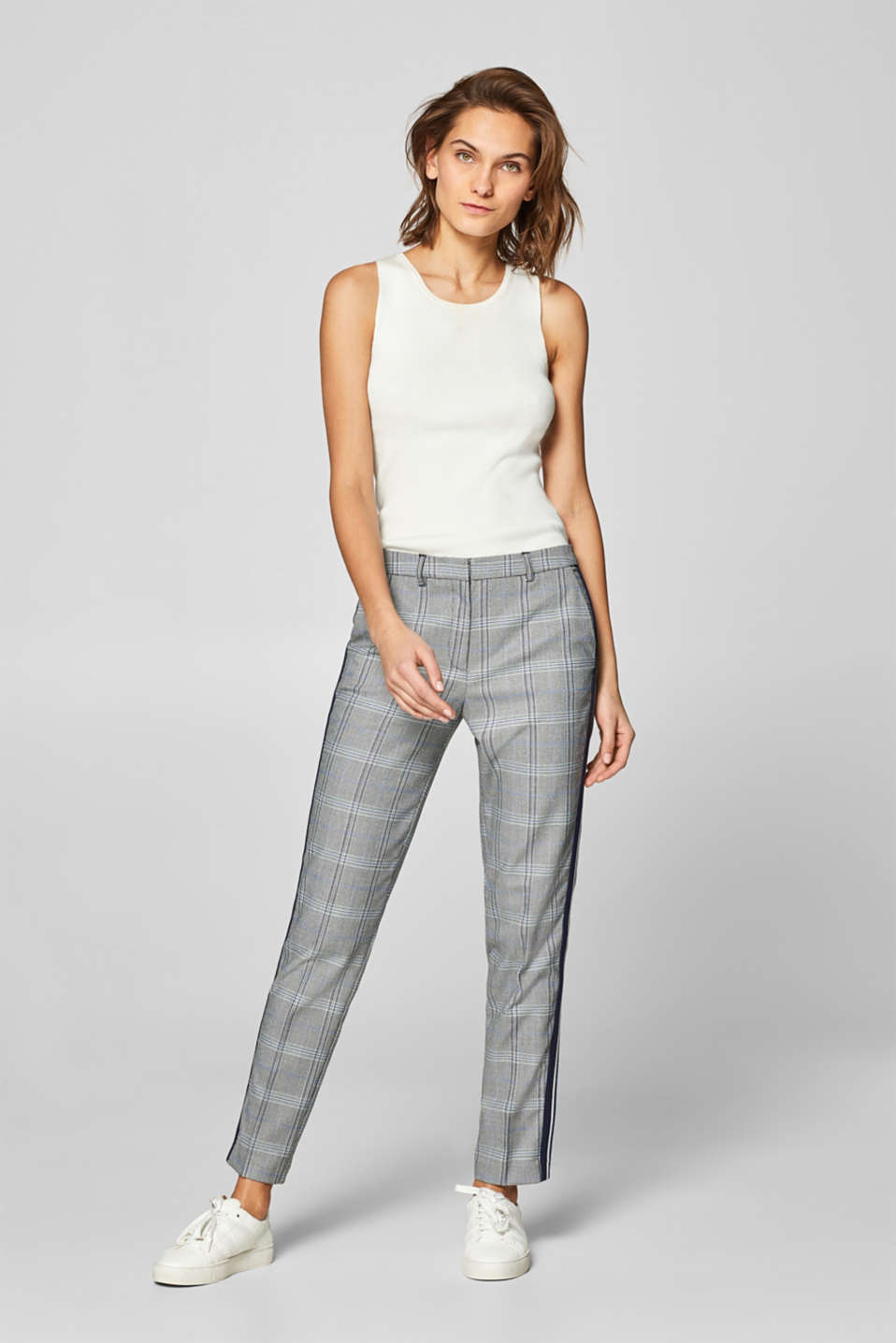 Esprit - Pantalon stretch CHECK Mix + Match