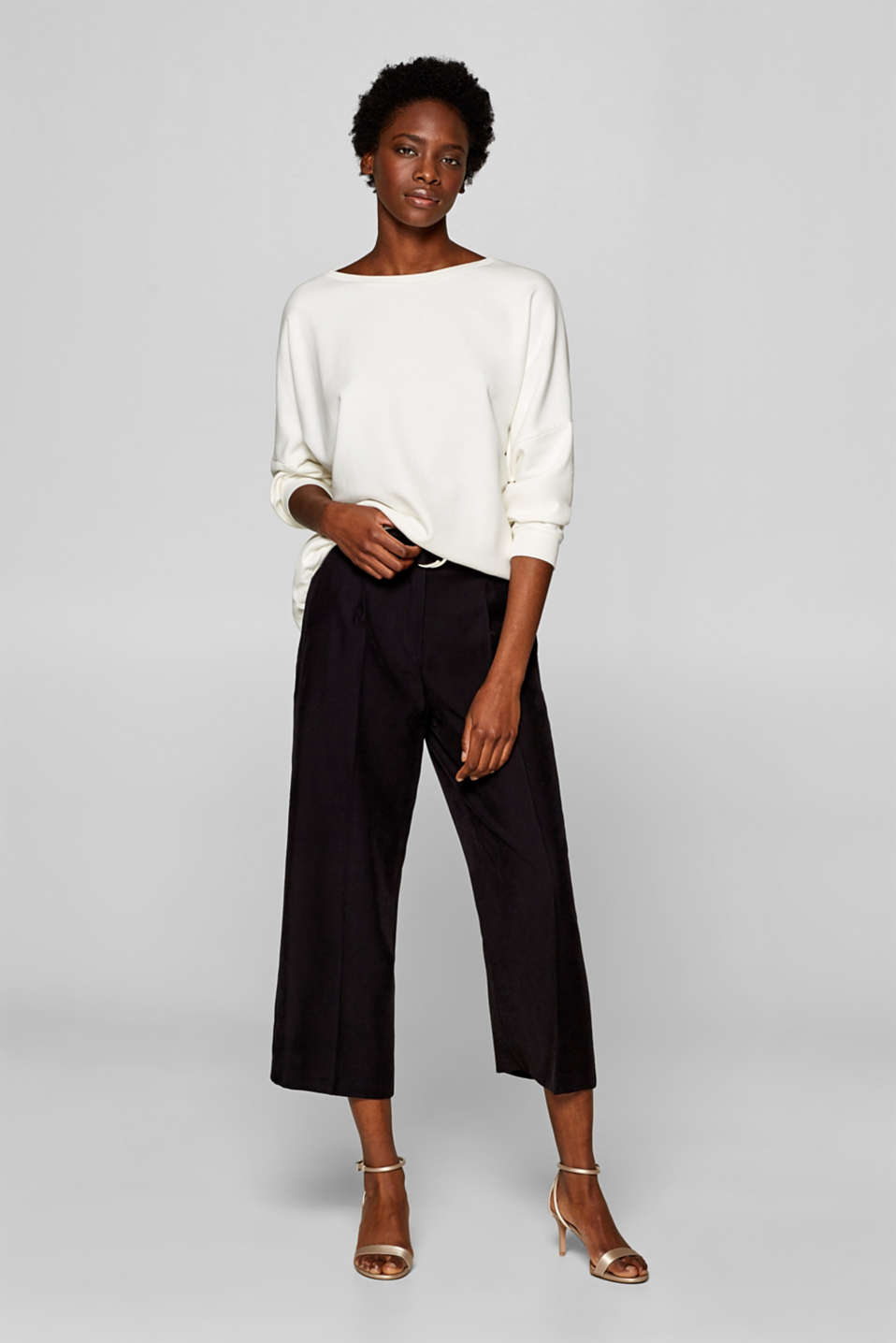 Esprit - Culottes with a belt and LENZING™ ECOVERO™