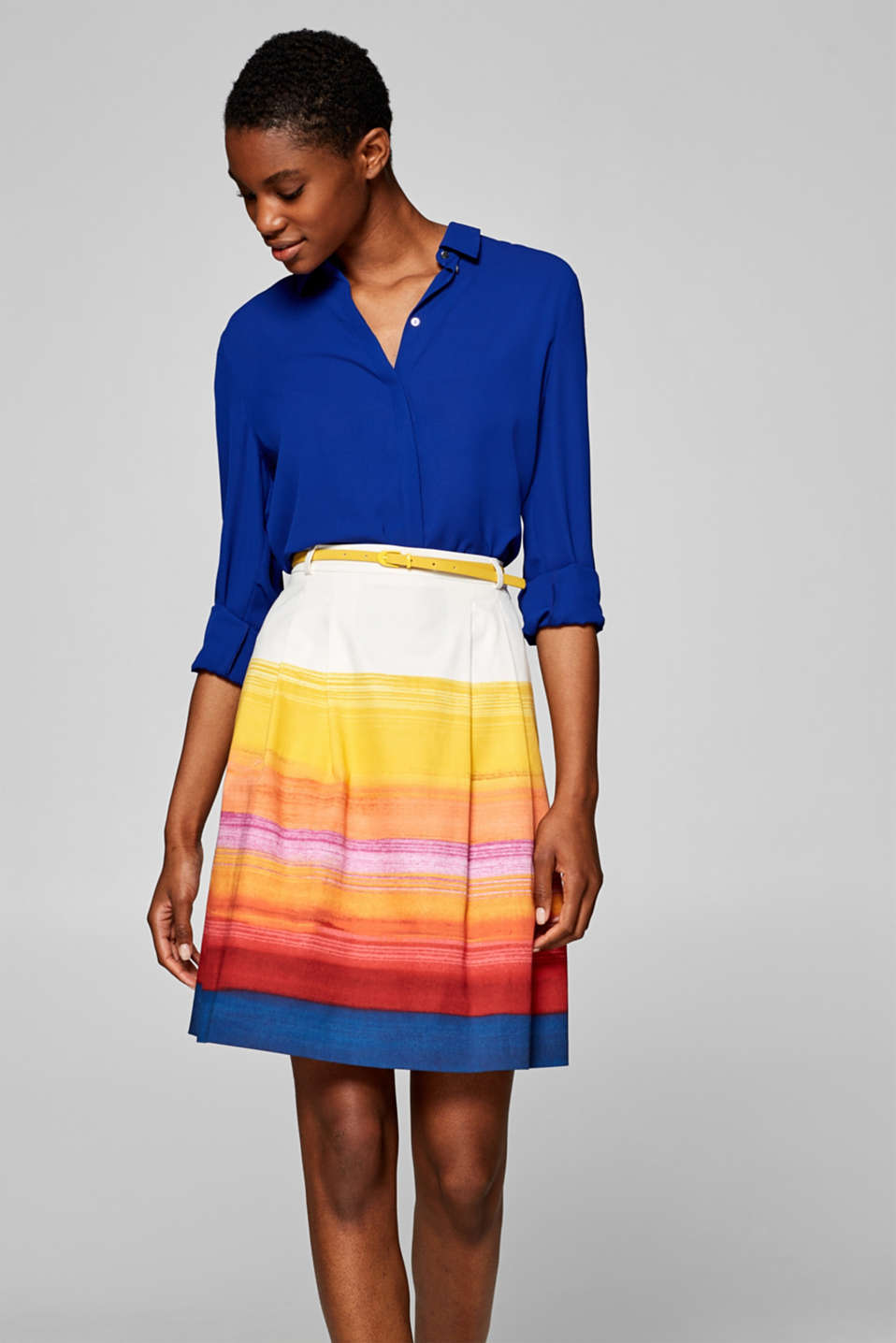 Esprit - Stretch skirt with a rainbow pattern