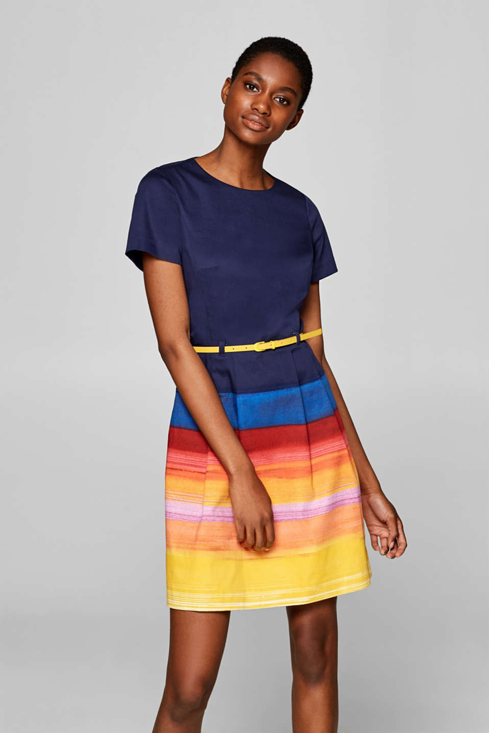 Esprit - Stretch dress with a rainbow skirt