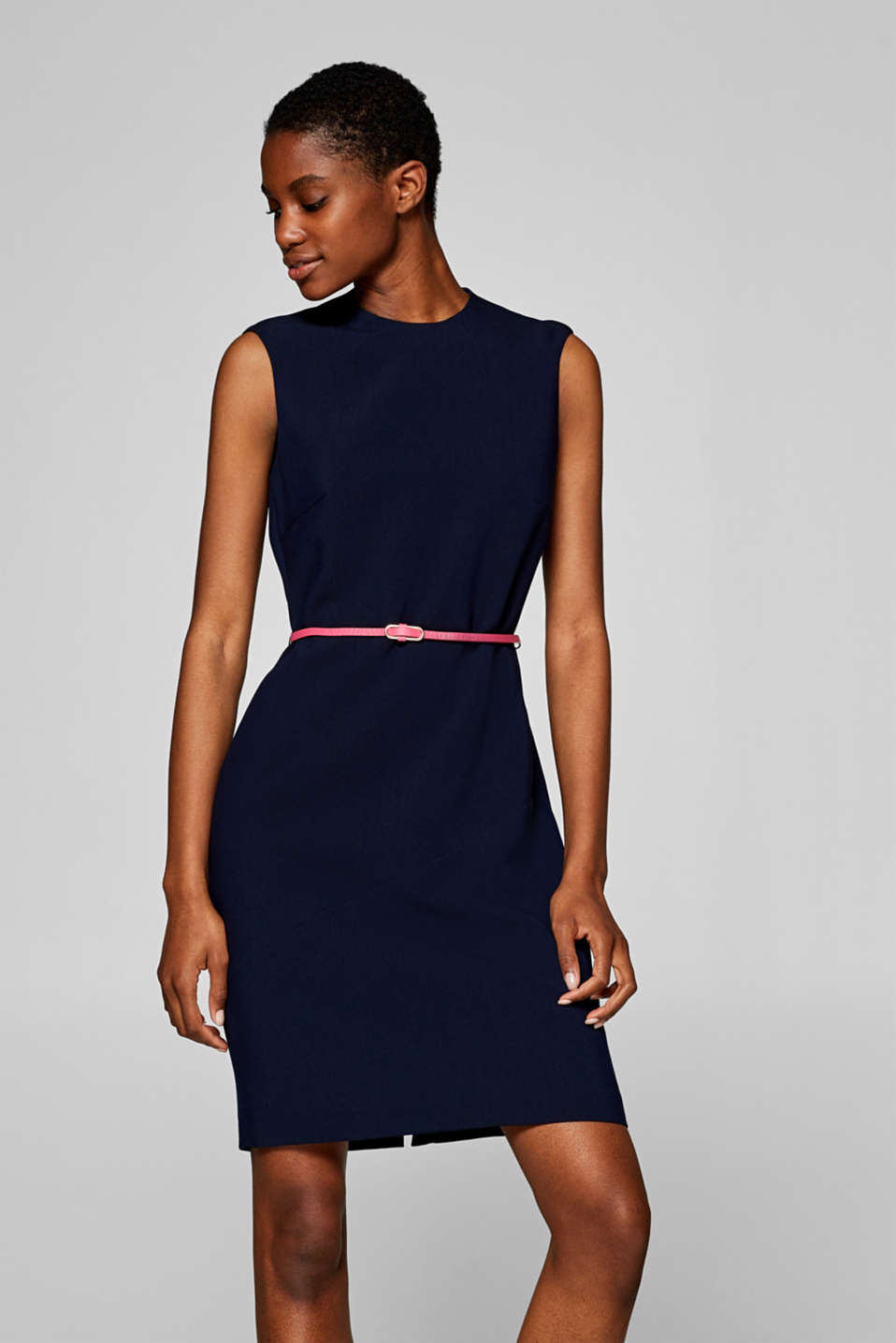 Esprit - Stretchy shift dress with a textured belt