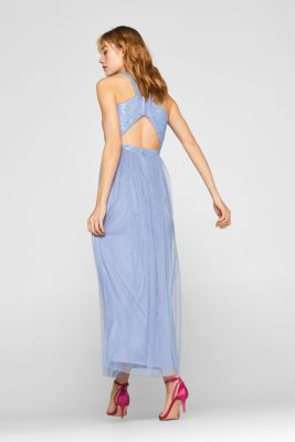 Maxi dress with sequins, made of tulle, PASTEL BLUE, detail