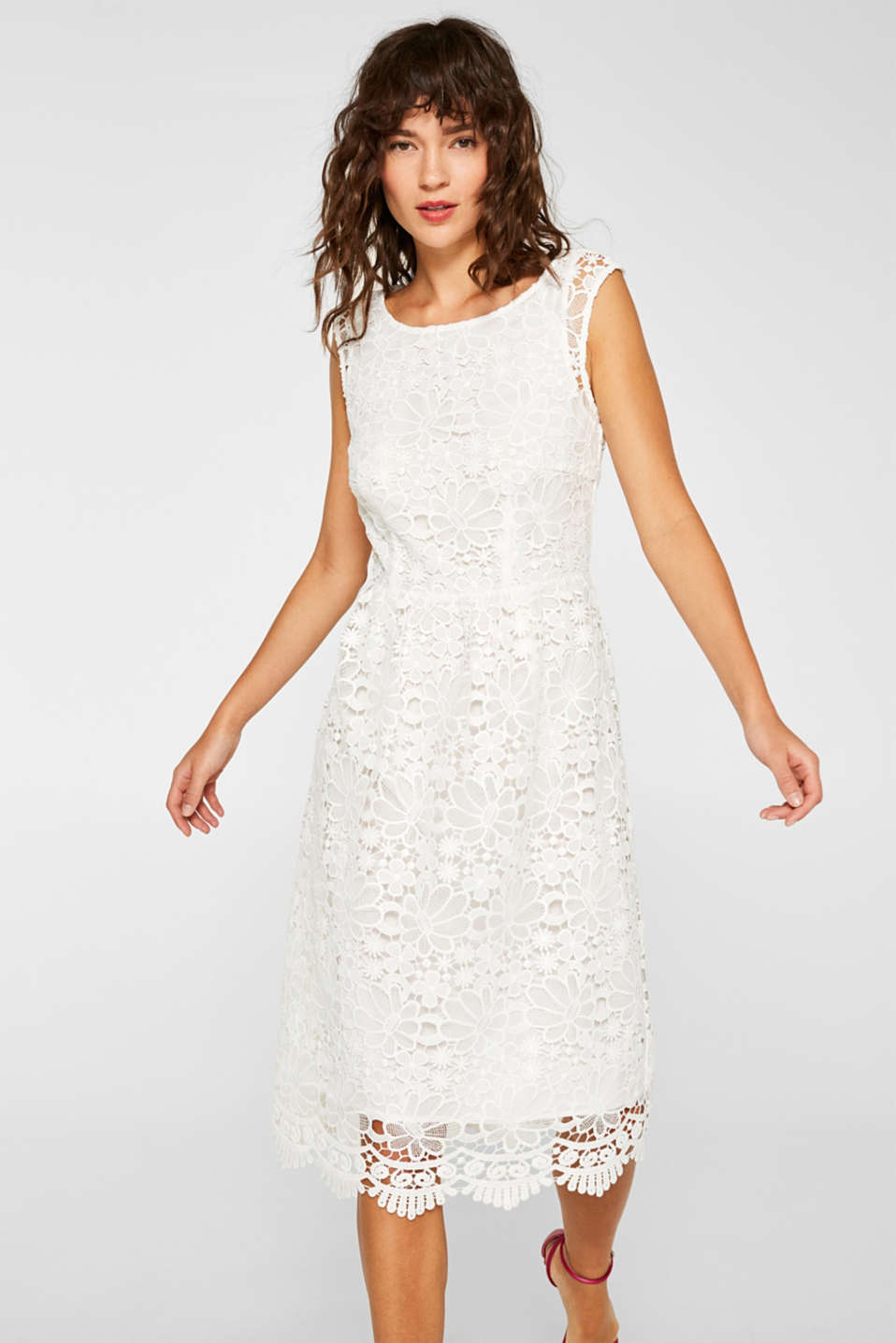 Esprit - Midi dress made of opulent lace