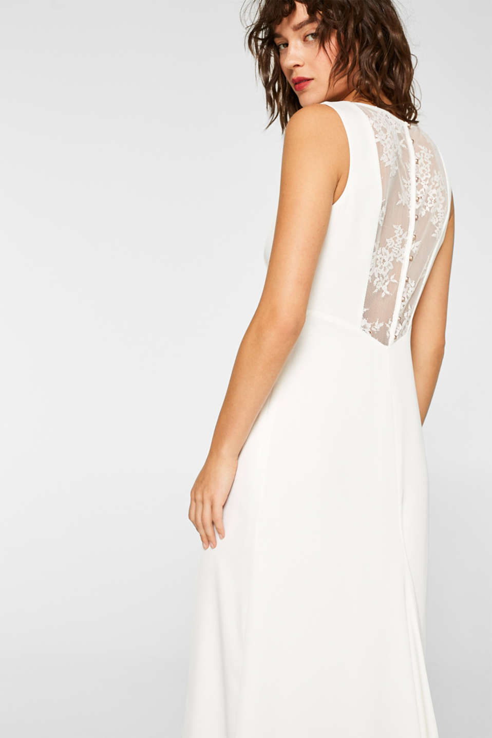 Wedding dress with lace at the back, OFF WHITE, detail image number 6