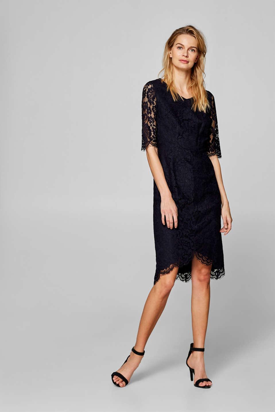 Floral lace shift dress, NAVY, detail image number 0