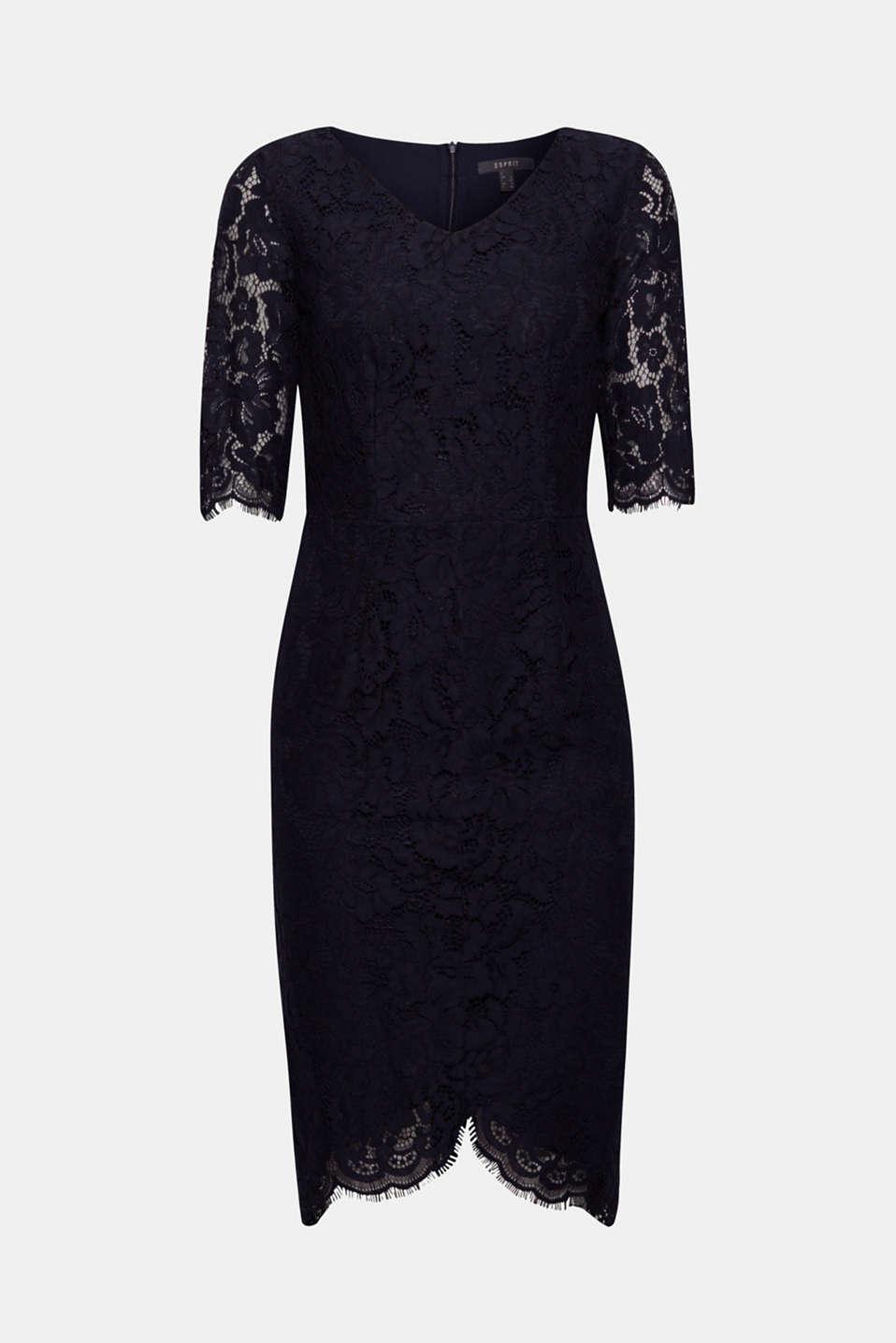 Floral lace shift dress, NAVY, detail image number 6