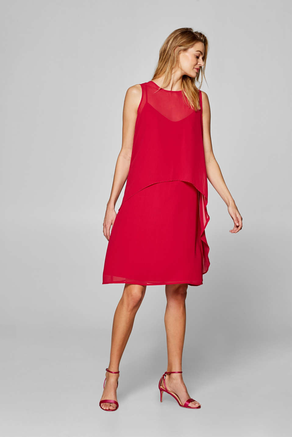 Esprit - Layered chiffon dress trimmed with beads