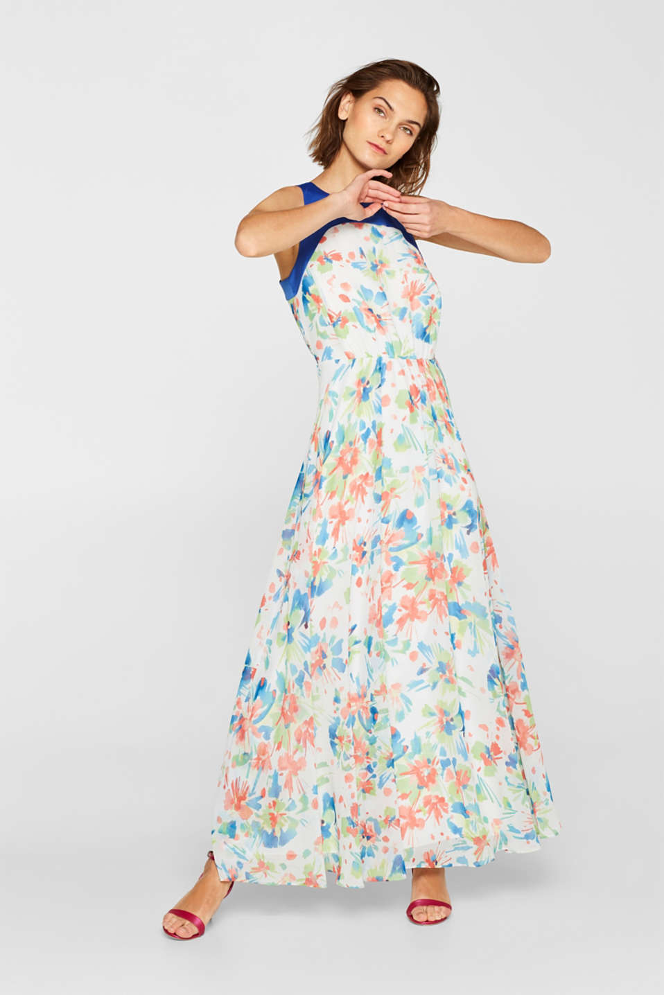 Esprit - Printed chiffon dress with satin trims