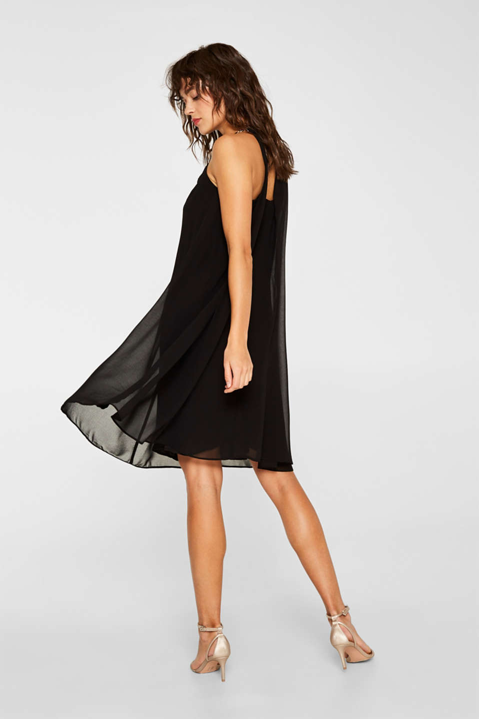 Chiffon dress with elegant chain details, BLACK, detail image number 2