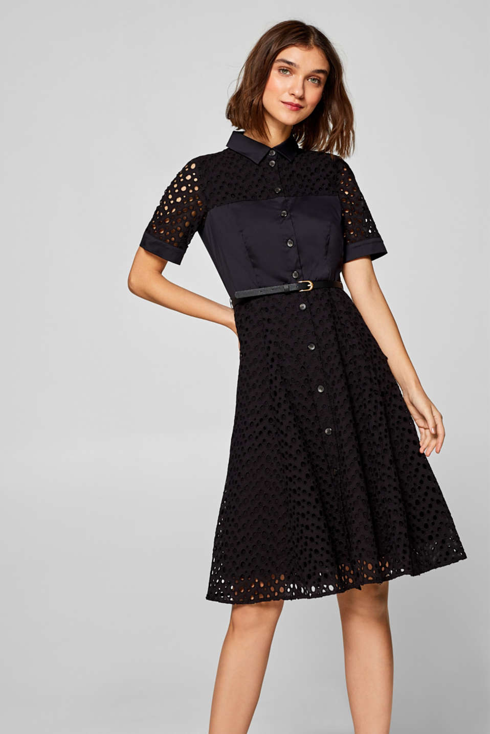 Esprit - Shirt dress with broderie anglaise and a belt
