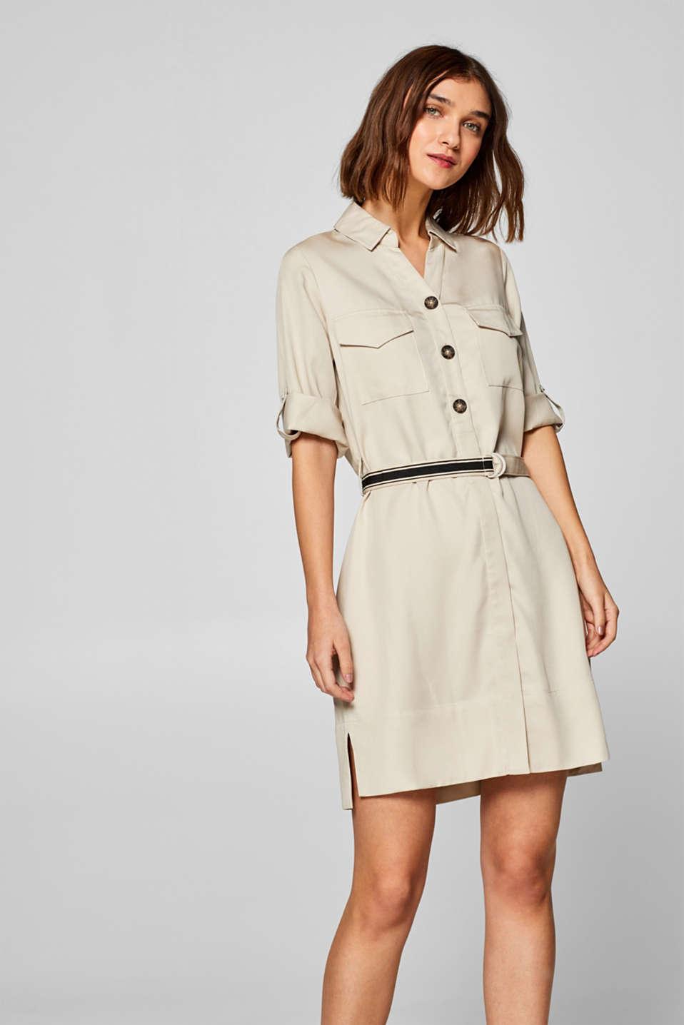 a1b180f0c171 Esprit - Skjortblusklänning i 100% lyocell i Esprits Online-Shop
