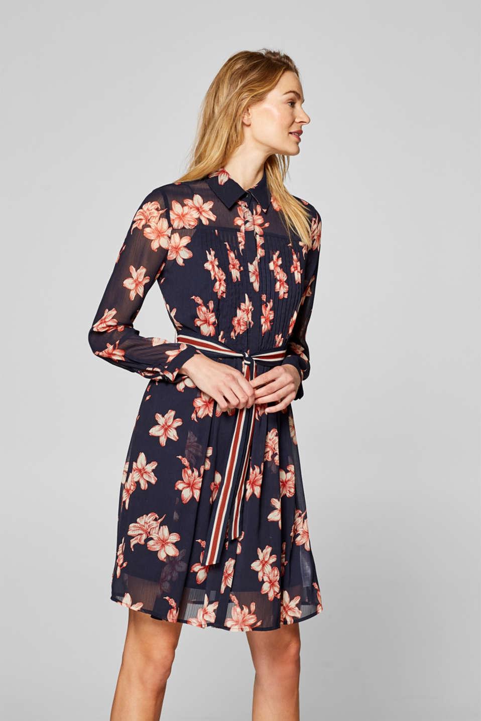 Esprit - Kleid aus Crinkle-Chiffon mit Streifen-Gürtel im ...