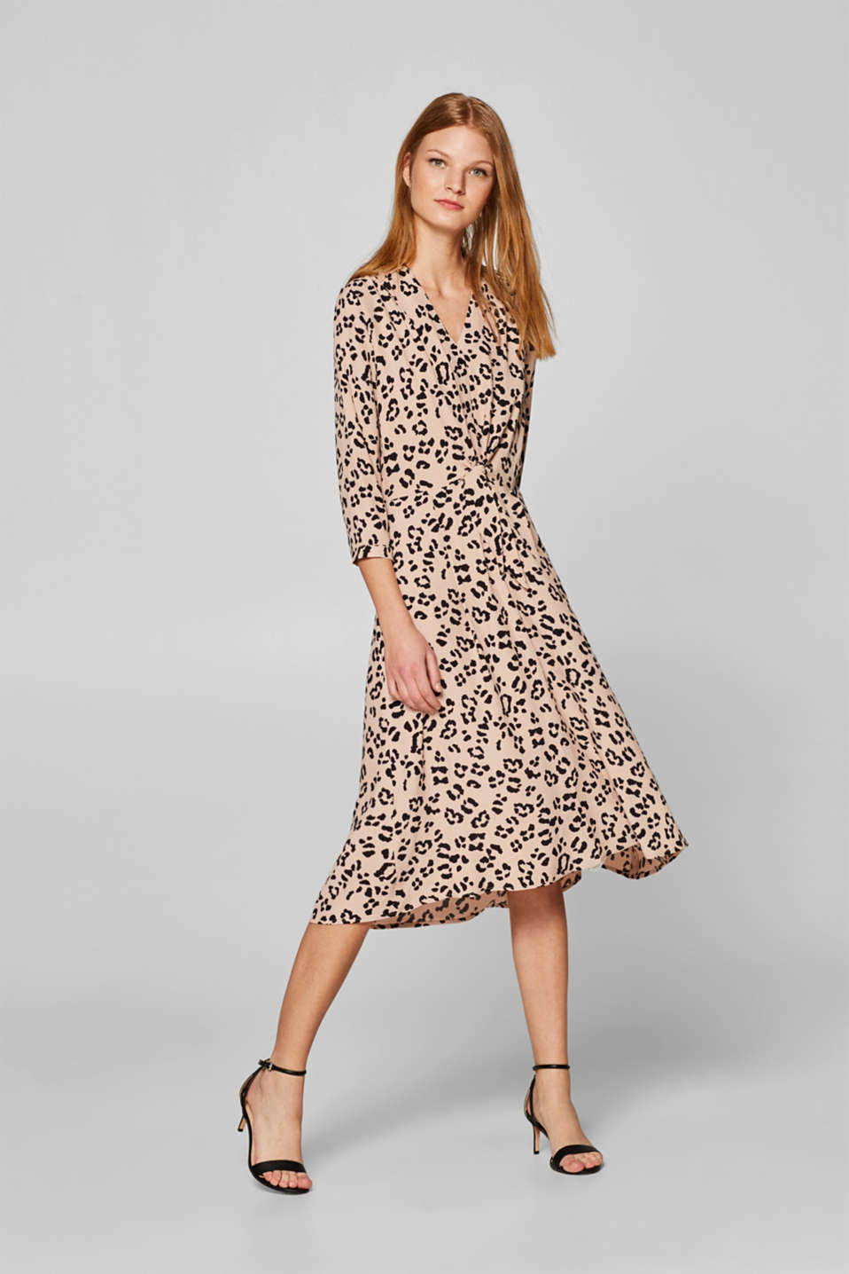 Esprit - Leopard print dress with knot details