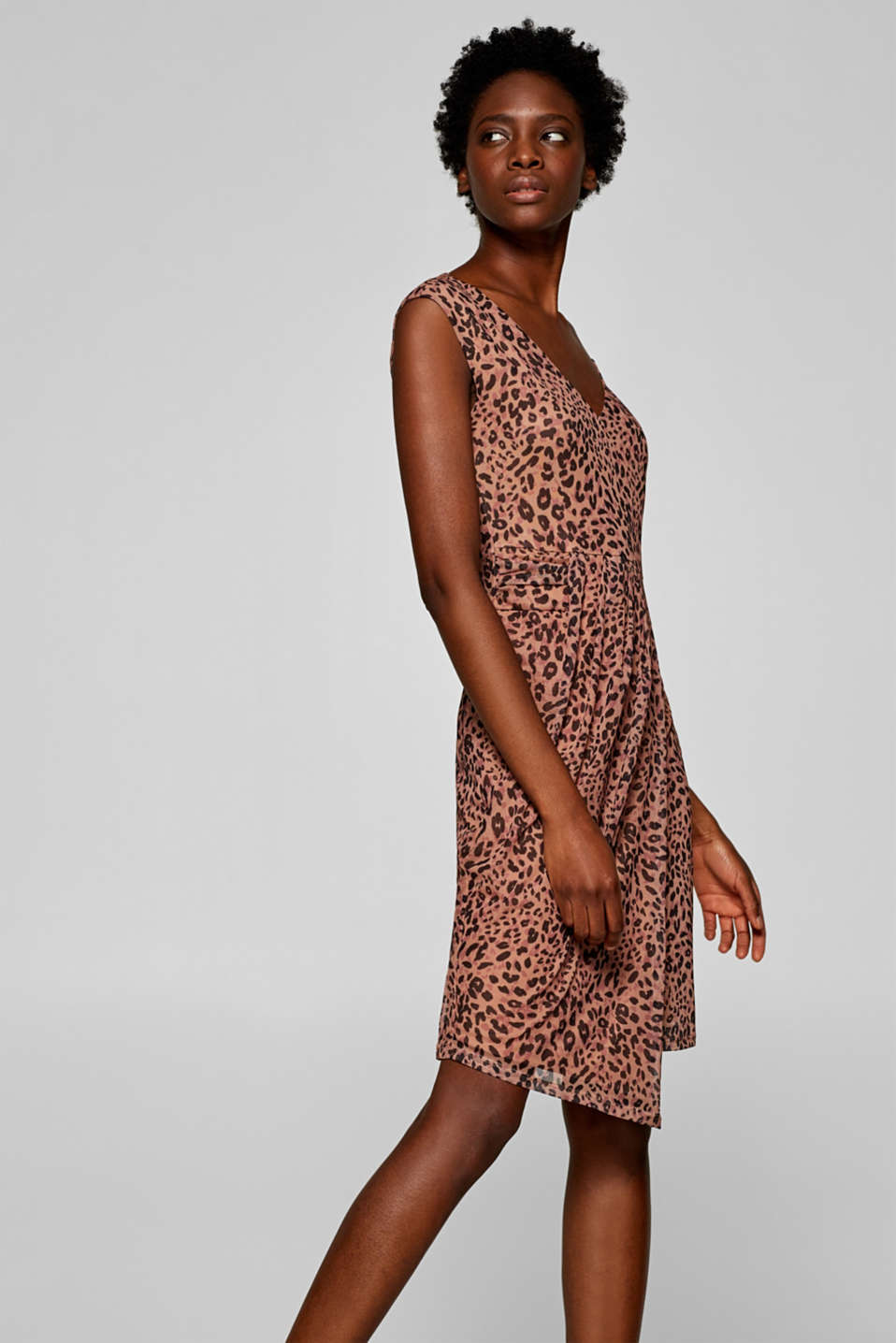 Esprit - Mesh dress with a leopard skin print and pleated details at ... 214beabd6
