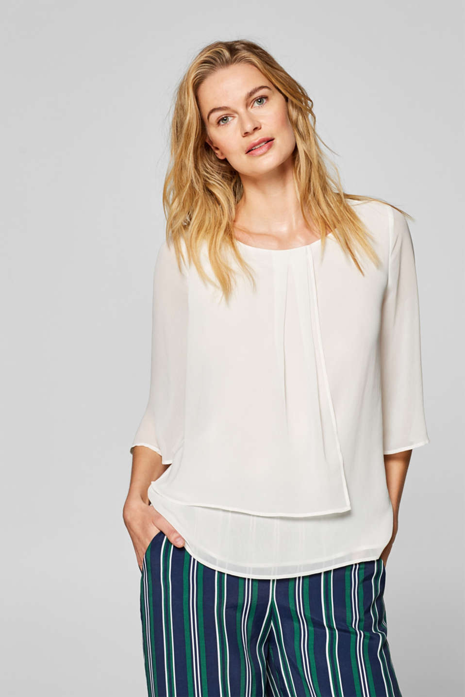 Esprit - Chiffon blouse with a layered effect