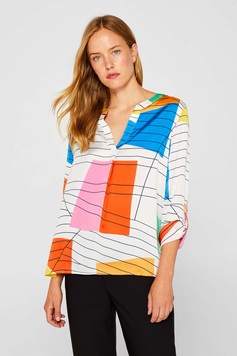 Esprit - Henley blouse with a graphic print