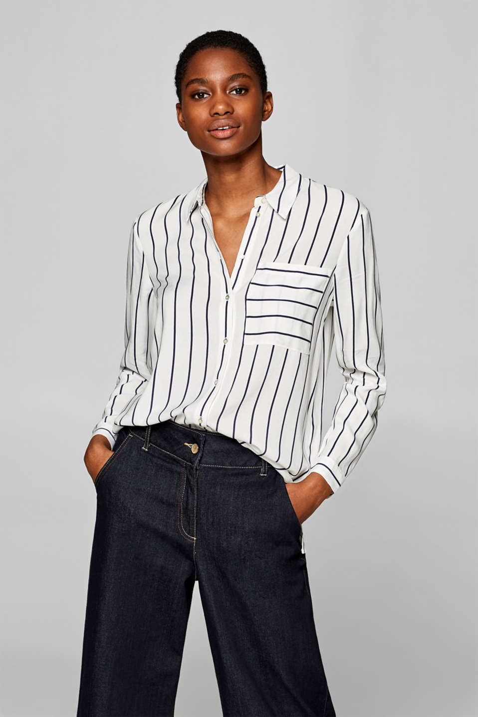 Esprit - Striped blouse with a breast pocket