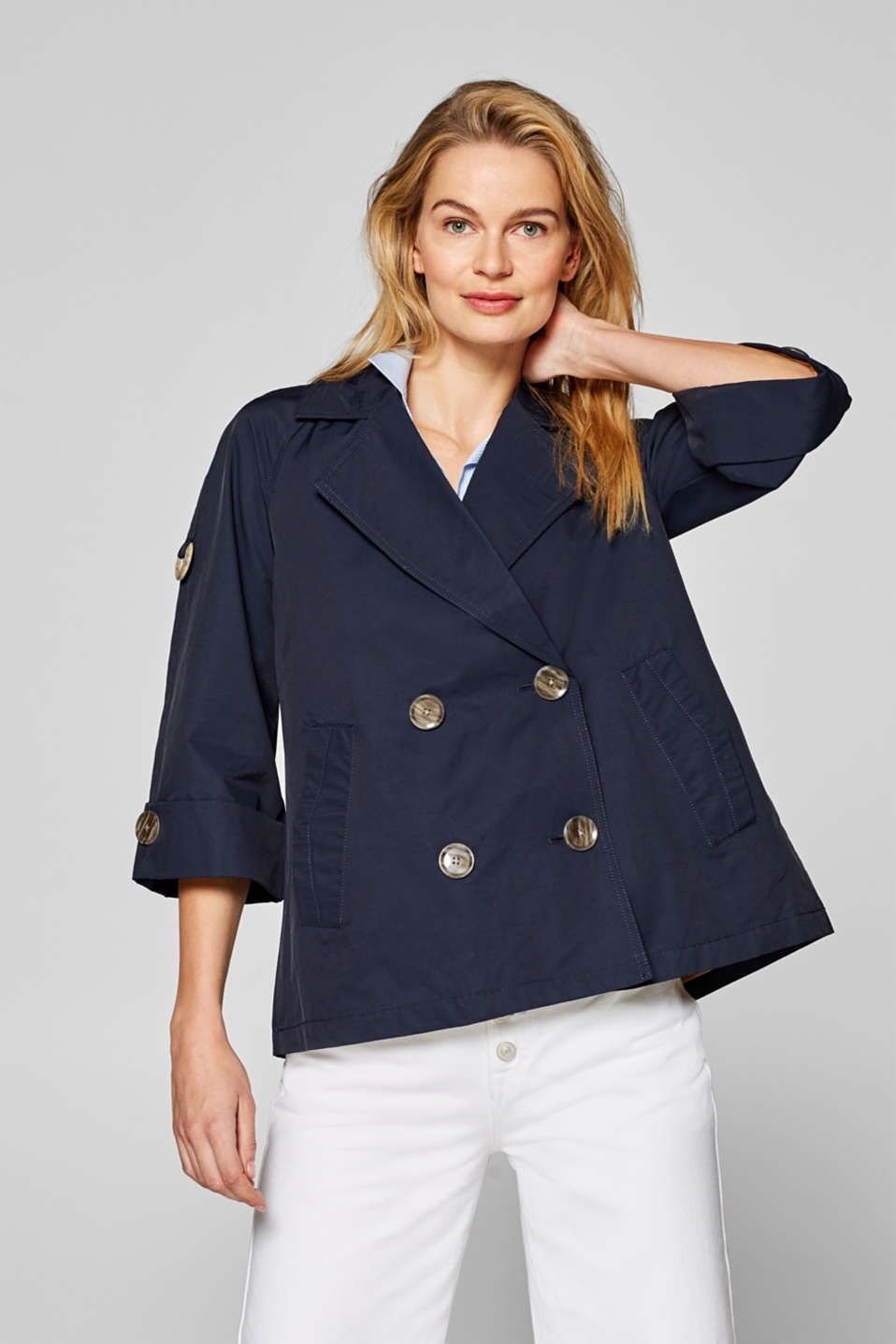 Esprit - Lightweight pea jacket with three-quarter length sleeves