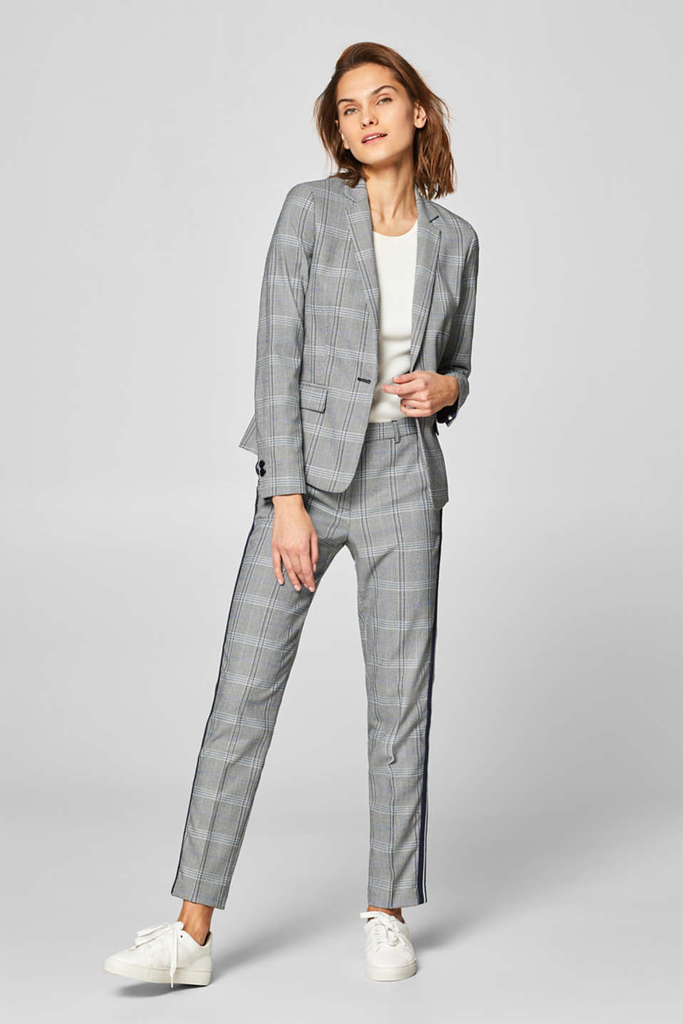 Esprit - CHECK Mix + Match Stretch-Blazer