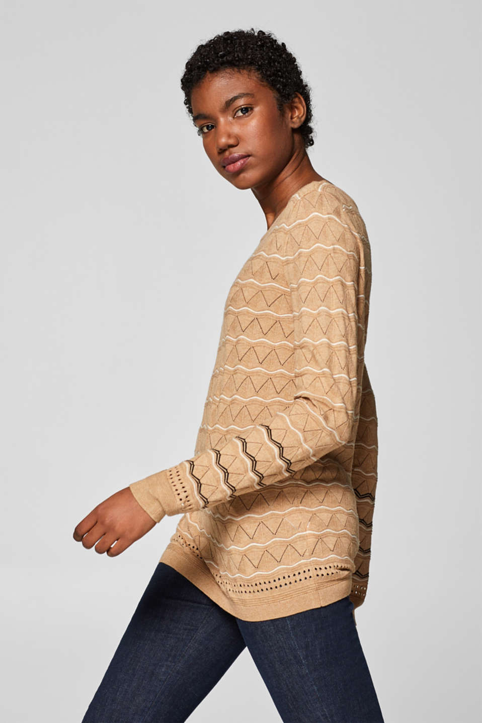 Esprit - Fine knit jumper with a pointelle pattern