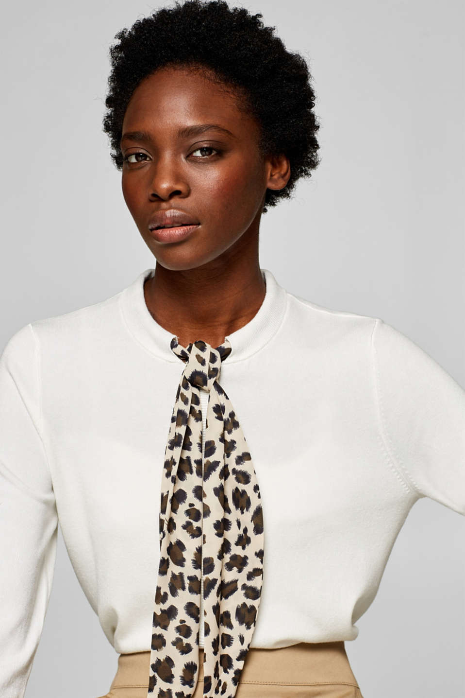 Esprit - Fine knit cardigan with a leopard print pussycat bow