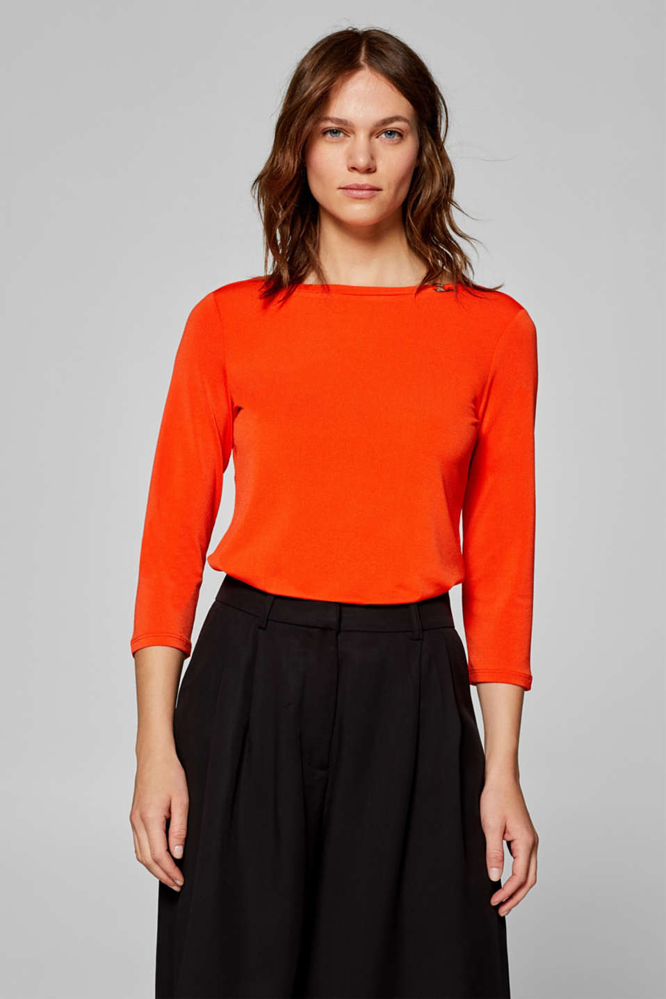 Esprit - Crêpe top with a decorative ring and stretch for comfort