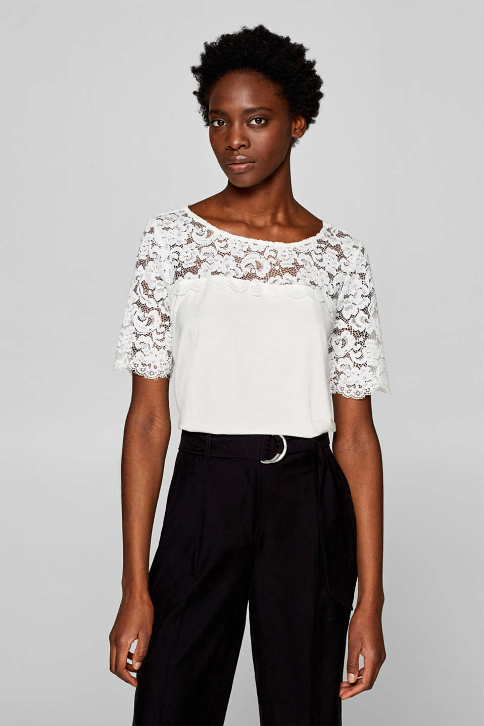 Esprit - T-shirt with floral lace details
