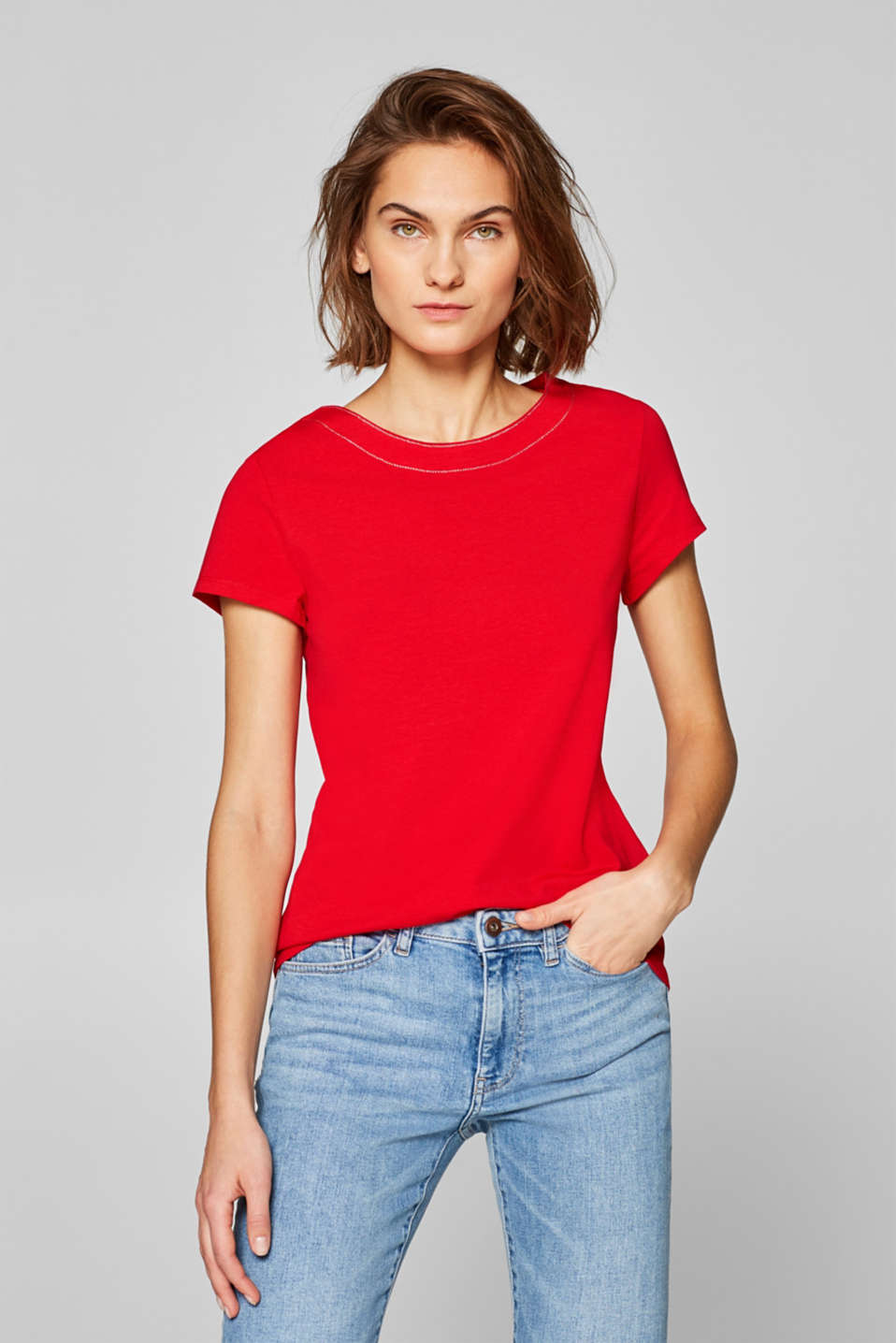 Esprit - Stretch cotton T-shirt with glitter seams