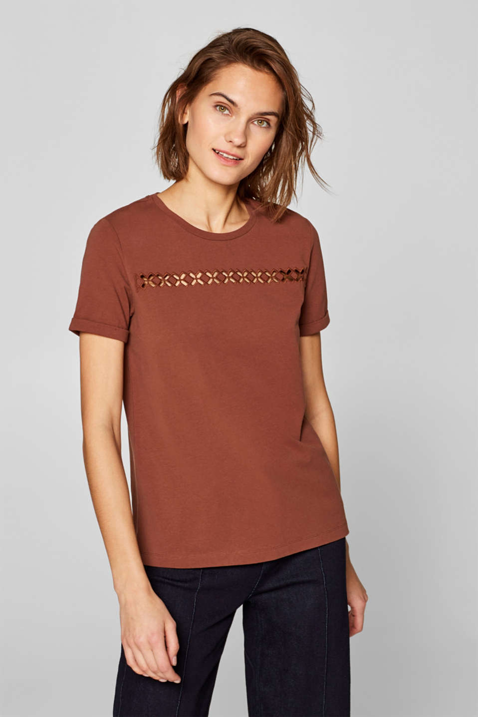 Esprit - Stretch top with a cross-shaped open-work pattern