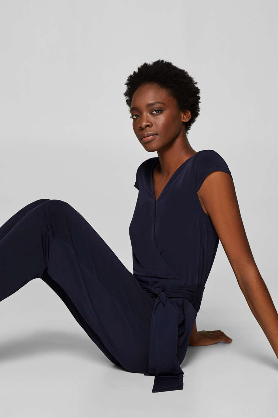 Esprit - Stretch jersey jumpsuit with a wrap-over effect