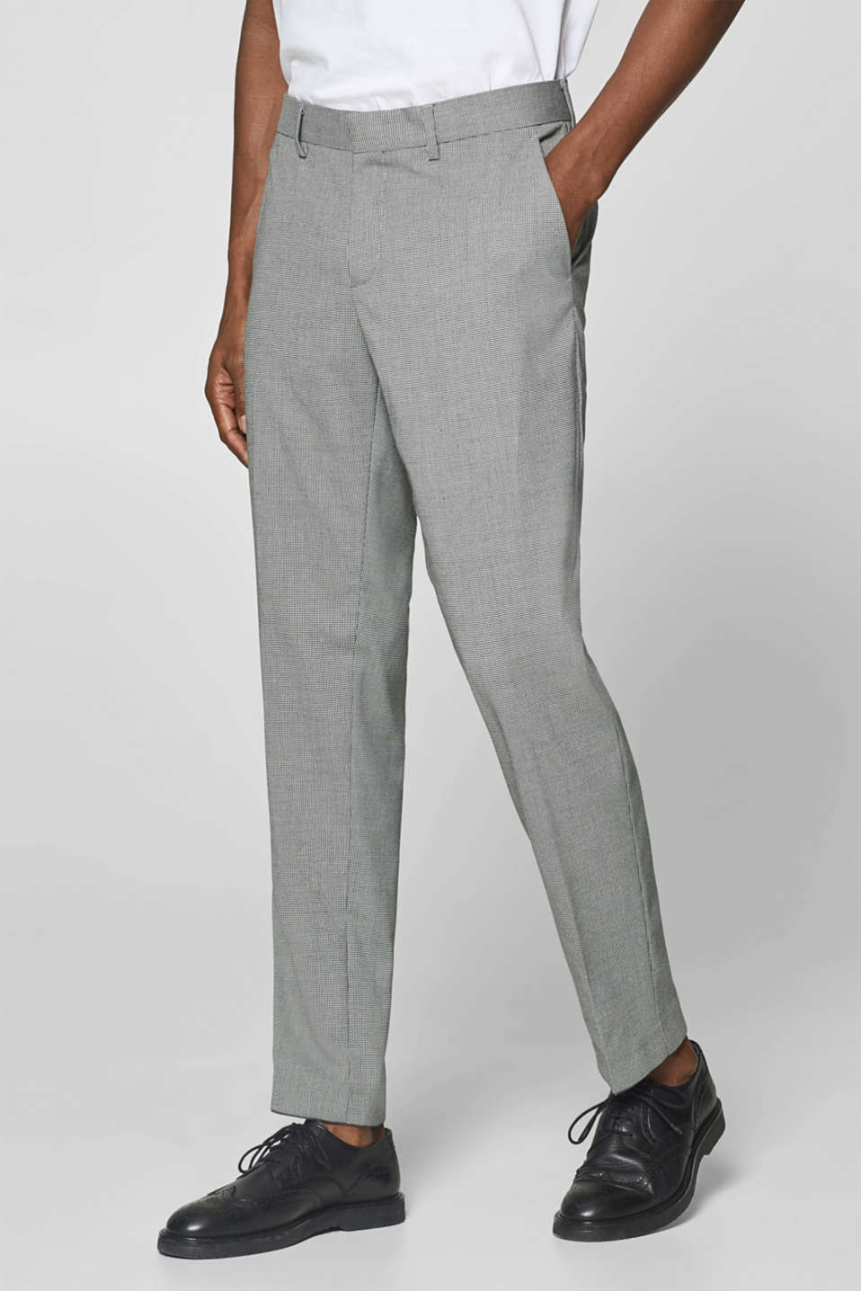 Esprit - HOUNDSTOOTH Mix + Match: suit trousers with pressed pleats