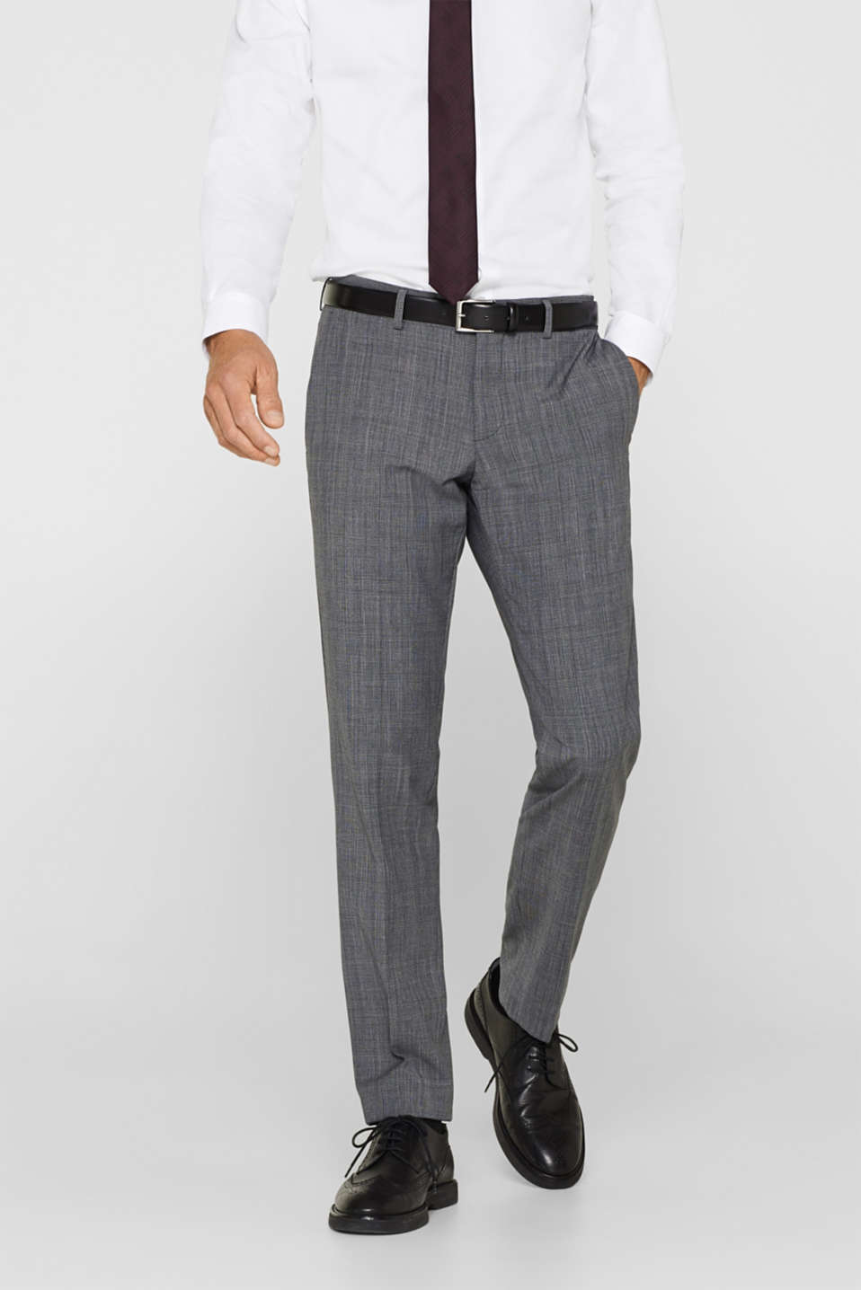 Esprit - GLENCHECK mix + match: suit trousers with waist pleats