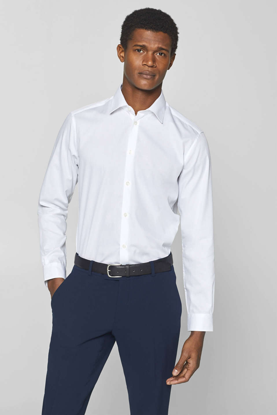Esprit - Textured shirt with Kent collar