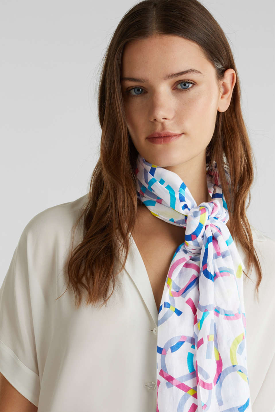 Scarf made of 100% organic cotton, OFF WHITE, detail image number 1