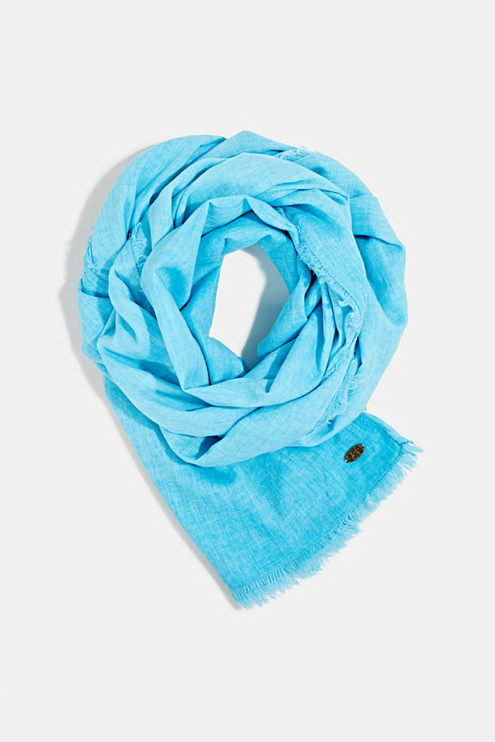 Wide scarf, 100% organic cotton, TURQUOISE, detail image number 0