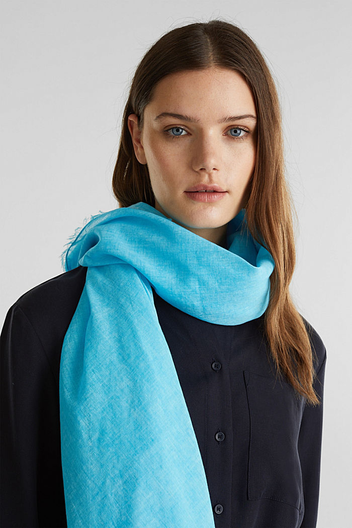 Wide scarf, 100% organic cotton, TURQUOISE, detail image number 1