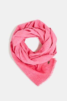 Wide scarf, 100% organic cotton, PINK FUCHSIA, detail