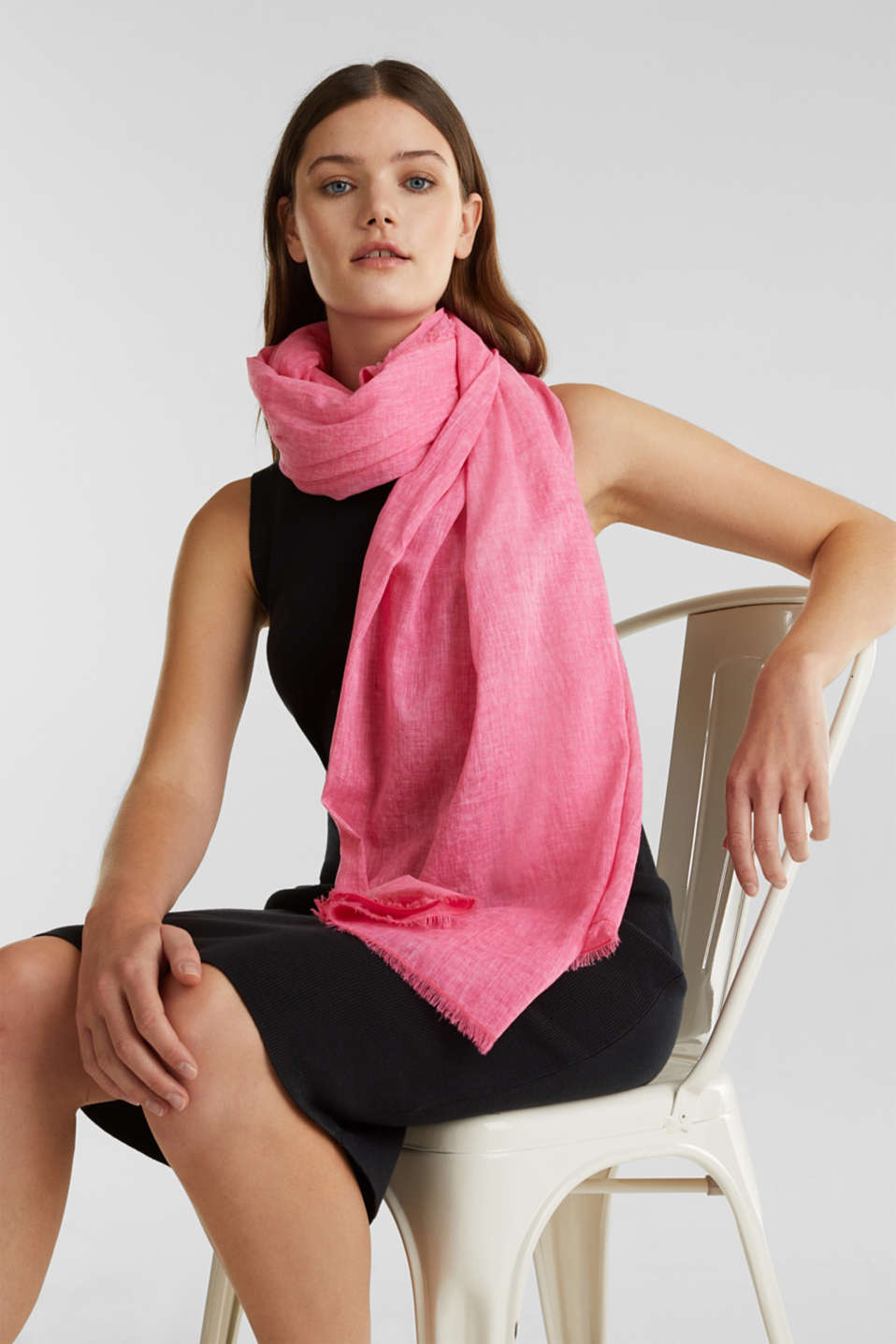 Wide scarf, 100% organic cotton, PINK FUCHSIA, detail image number 1
