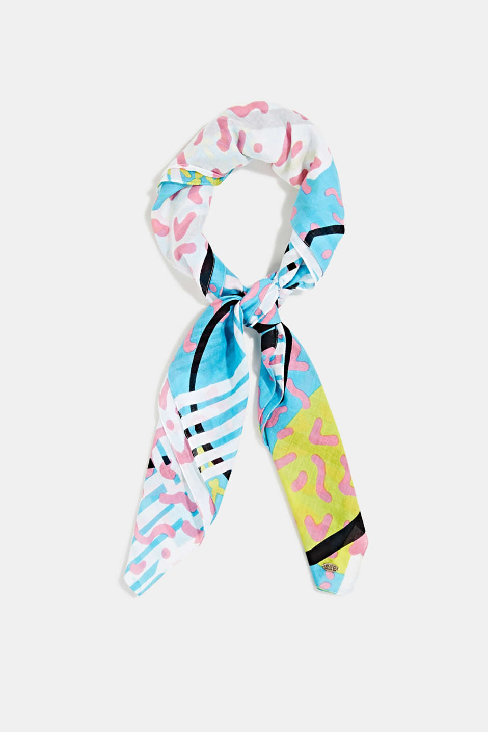 Art print scarf made of 100% organic cotton, TURQUOISE, detail image number 0