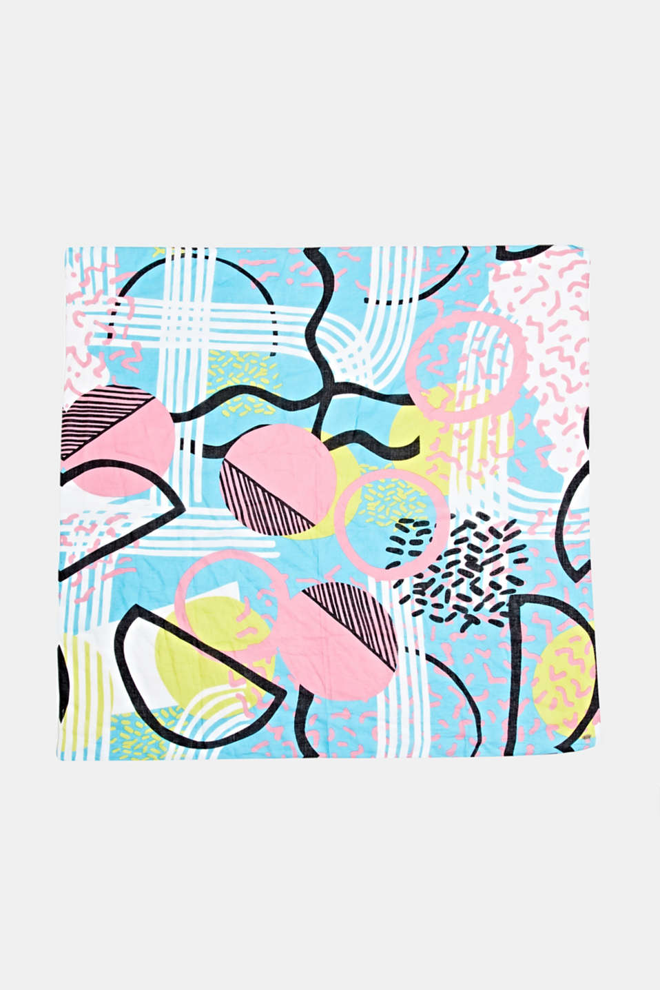 Art print scarf made of 100% organic cotton, TURQUOISE, detail image number 3