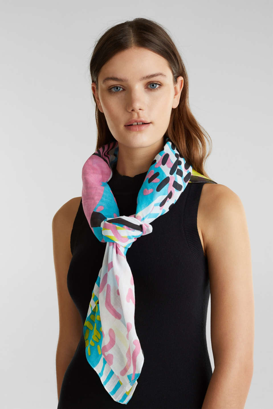 Art print scarf made of 100% organic cotton, TURQUOISE, detail image number 1