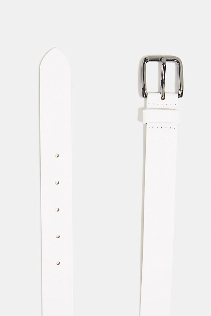 Leather belt, WHITE, detail image number 1