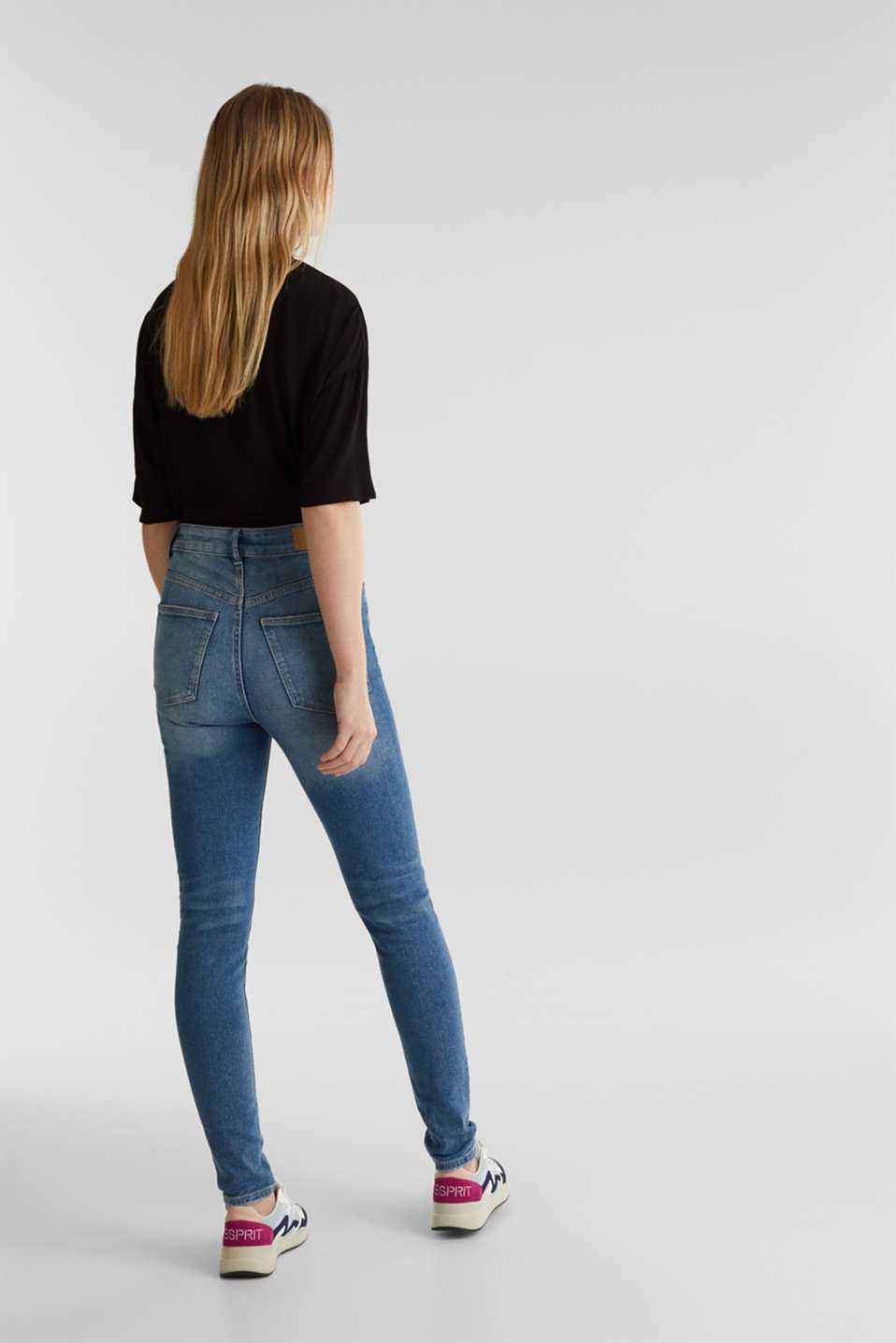 Jeans with an extra high rise waistband, BLUE MEDIUM WASH, detail image number 3