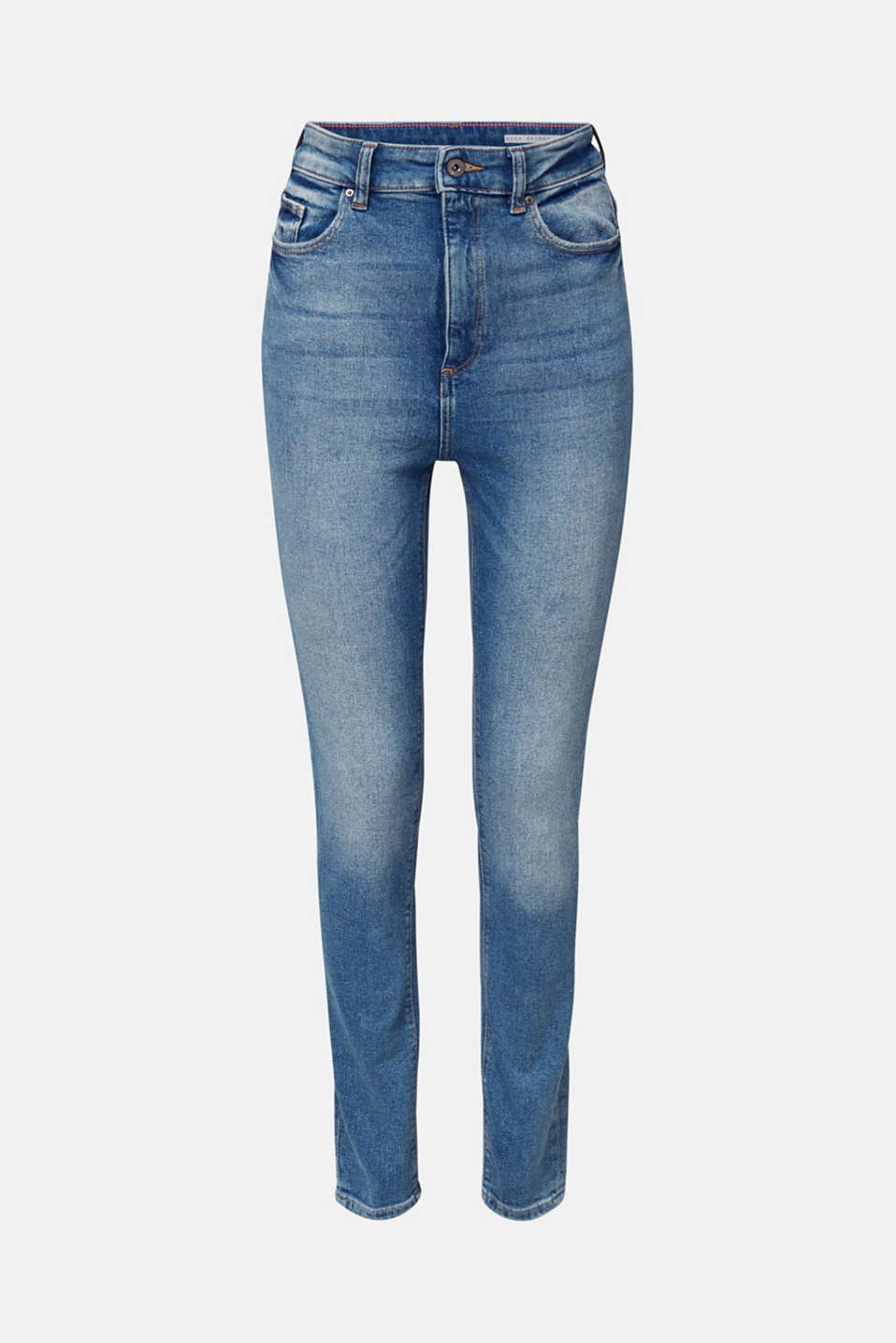 Jeans with an extra high rise waistband, BLUE MEDIUM WASH, detail image number 7