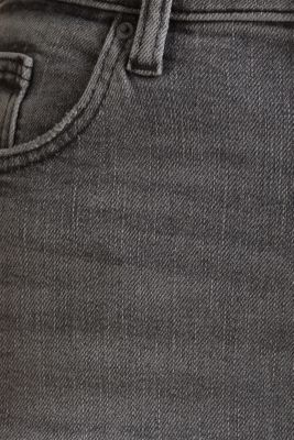 Basic jeans with an extra high rise waistband, BLACK LIGHT WASH, detail