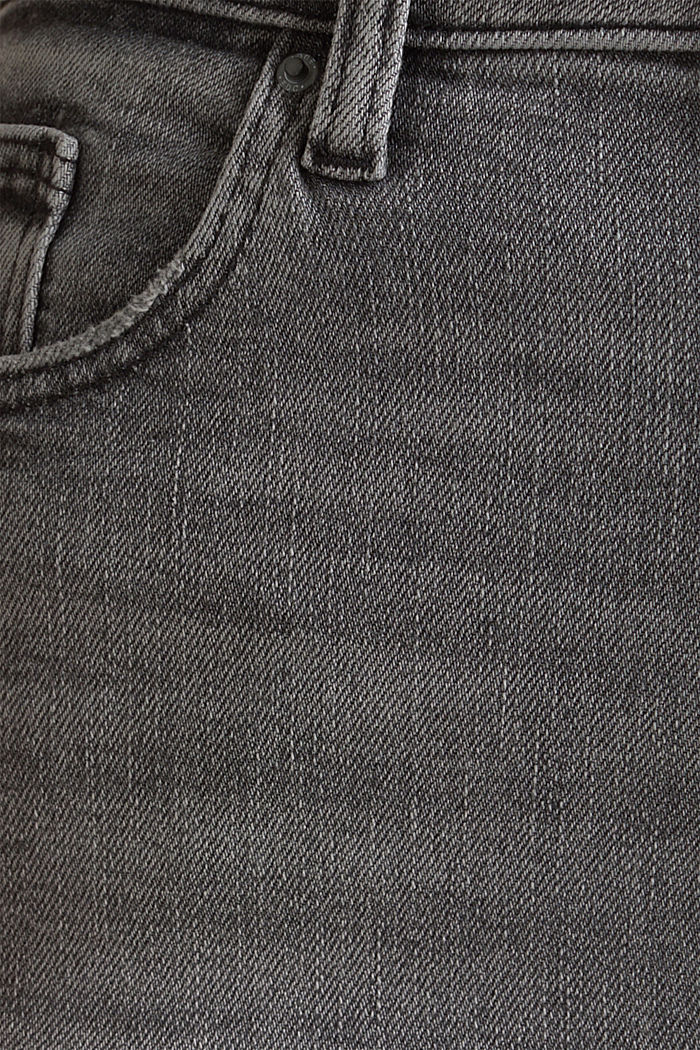 Basic-Jeans mit extra-hohem Bund, BLACK LIGHT WASHED, detail image number 4